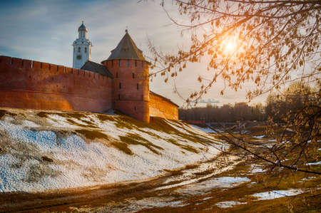 Veliky Novgorod Kremlin fortress at early spring sunset in Veliky Novgorod, Russia, panoramic view, hdr processing applied