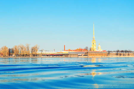 St Petersburg, Russia - April 5, 2019. Panorama of Saint Petersburg - architecture ensemble of Peter and Paul fortress and the Neva river in sunny spring day