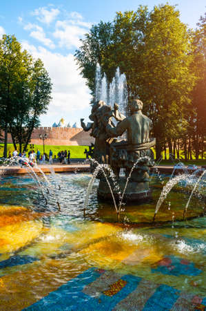 Veliky Novgorod, Russia - August 17, 2019. Fountain with stone sculptures of Sadko and Princess Volkhova - heroes of old Novgorod legends, Veliky Novgorod, Russia Sajtókép