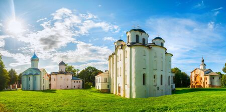 Veliky Novgorod, Russia. Panorama of churches at Yaroslav Courtyard in Veliky Novgorod, Russia. Summer architecture landscape of Veliky Novgorod Russia landmarks