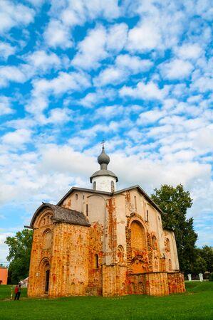 Veliky Novgorod, Russia. Paraskeva Pyatnitsa church at Yaroslav Courtyard in Veliky Novgorod, Russia. Travel summer landscape of Veliky Novgorod landmark Stock Photo
