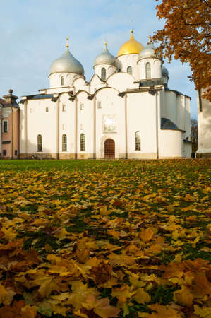St Sophia cathedral in Veliky Novgorod, Russia. Sunset scene of Veliky Novgorod Russia landmark in sunny October evening