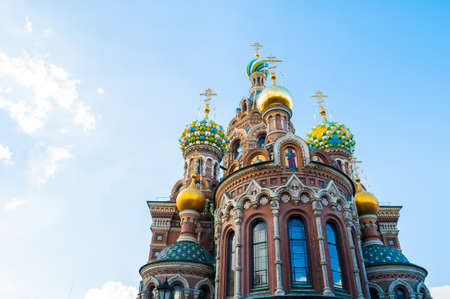 St Petersburg, Russia - Cathedral of Our Savior on Spilled Blood, facade view of St Petersburg landmark