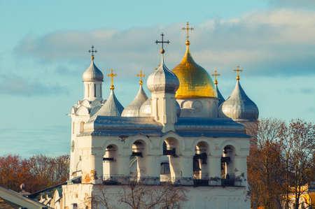 Veliky Novgorod, Russia. St Sophia cathedral, its bell tower and clock tower in Veliky Novgorod, Russia. Autumn view of Veliky Novgorod Russia