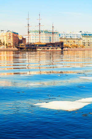 St Petersburg, Russia - April 5, 2019. The Neva river with Flying Dutchman - restaurant on the water in St Petersburg, Russia. Spring city landscape