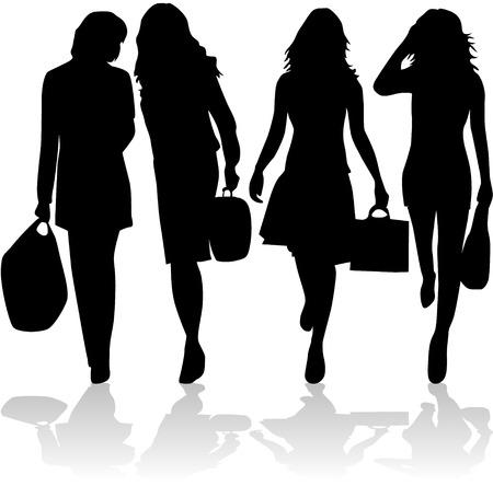 modieuze vrouwen gaan winkelen  Stock Illustratie