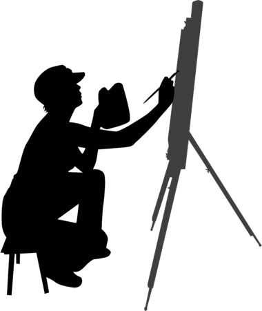 woman painting a picture Vector