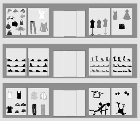 femme dressing: vitrines Illustration