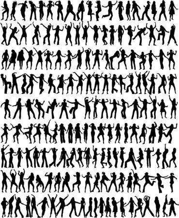 Nur die tanzenden Frauen und Mädchen - 176 Silhouetten! Standard-Bild - 6468130