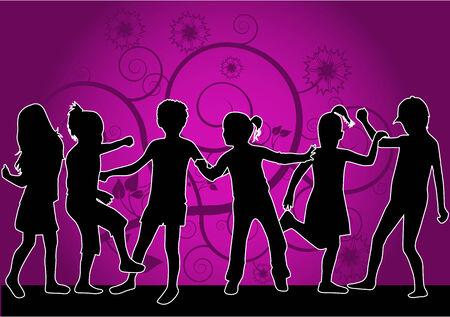De silhouetten van kinderen - roze achtergrond