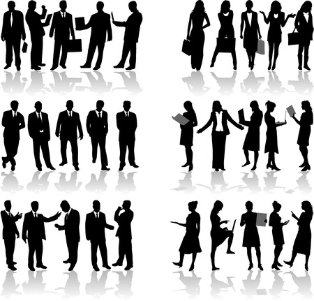 person silhouette: Business people work Illustration
