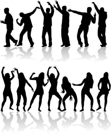 dancing people at disco. Vector