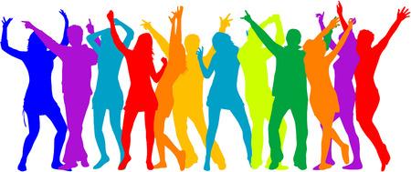 Partij menigte, mensen silhouetten - kleur