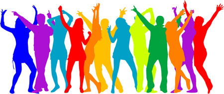want: Party Crowd , people silhouettes - color Illustration