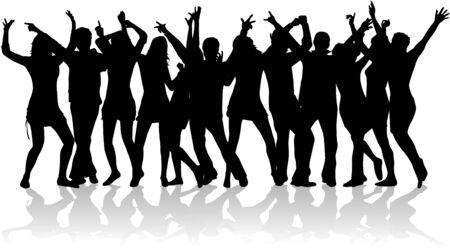 silueta masculina: Partido de multitud de dise�o Vectores