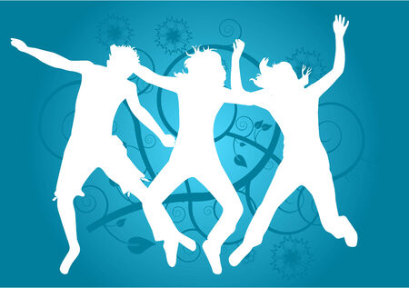 abstract backround: People jumping- abstract backround Illustration