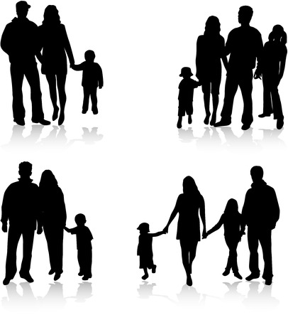 Vector silhouettes of parents with children Vector
