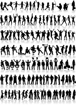 1 Grote collectie van profiel van mensen in verschillende situaties van vitaal belang  Stock Illustratie