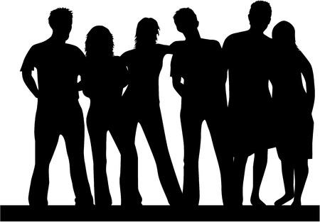 Mejores amigos, gente silueta, vector  Foto de archivo - 6701292