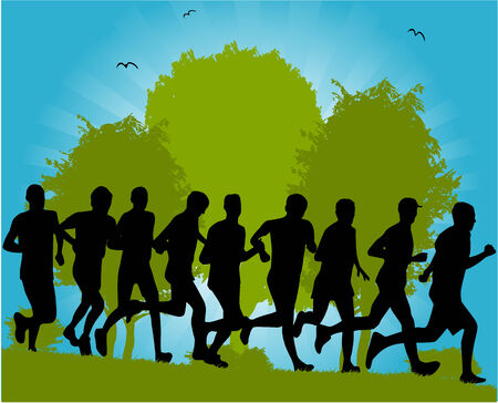 group of people running through park Stock Vector - 6701306
