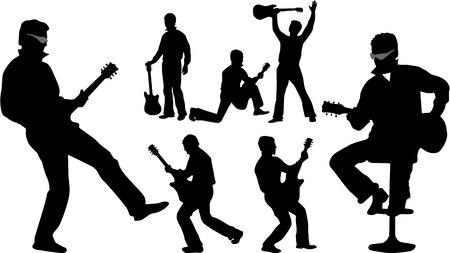 ギター プレーヤー 2、ベクトル イラスト