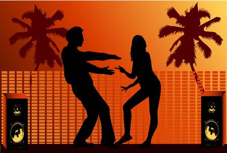 beach babe: Vacational fun , dance silhouette