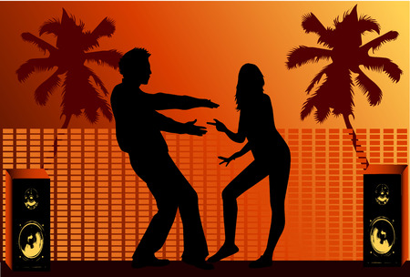 Vacational fun , dance silhouette