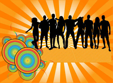 BANNER - Party Crowd , people silhouettes Stock Vector - 6826219