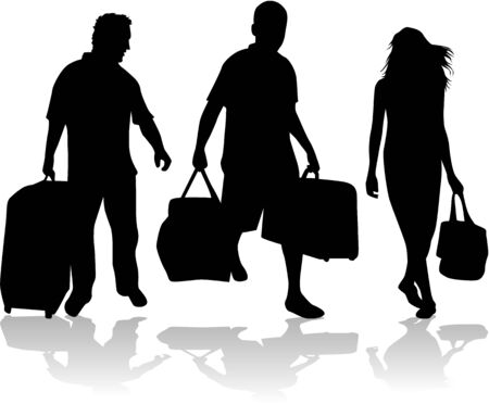 People silhouettes with bag  Vector