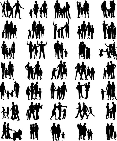Families black silhouettes, big collection Vector