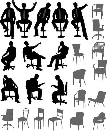 座っている位置に男  イラスト・ベクター素材