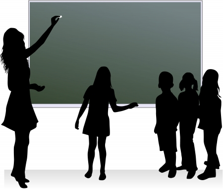 teenagers learning: School table & teacher & childrens