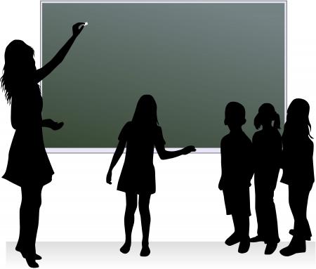 escuela infantil: Tabla de escuela & profesor & para niños  Vectores