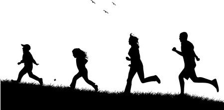 実行中の家族 - 人の黒いシルエット  イラスト・ベクター素材