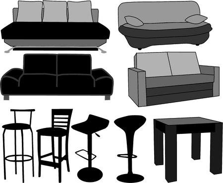 Mobiliario-hogar muebles, trabajar con vectores Foto de archivo - 7807773
