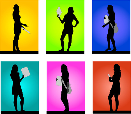 silhouettes of girls on a colored background Stock Vector - 7807872