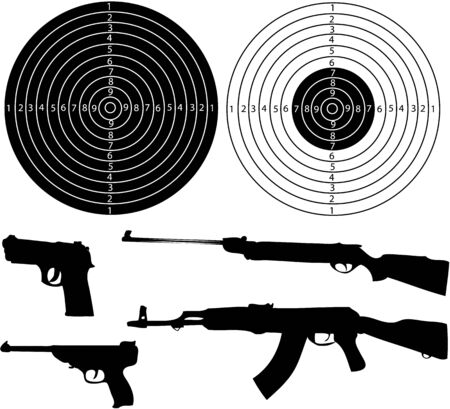gun license: Guns and shields -   illustration