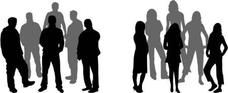 fila de espera: dos grupos de personas Vectores