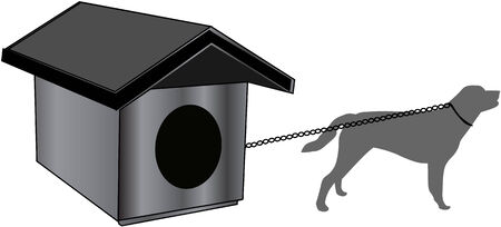 dog kennel: tied to a dog kennel