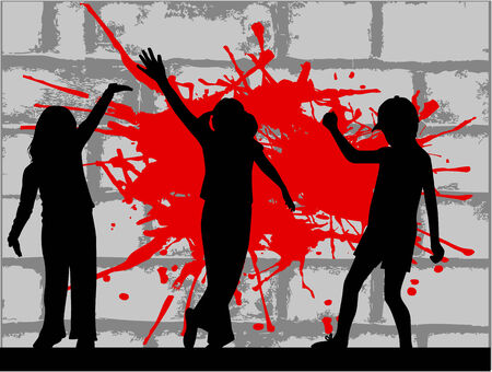 hip hop girl: The young people - brick background