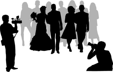 fotografi: fotografare la cerimonia di nozze Vettoriali