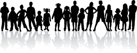 large group of people  silhouettes Vector