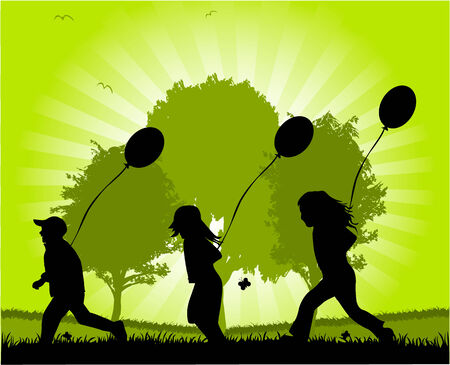 children running with balloons   Illustration