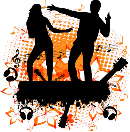 party - dancing couple on the grunge background Vector
