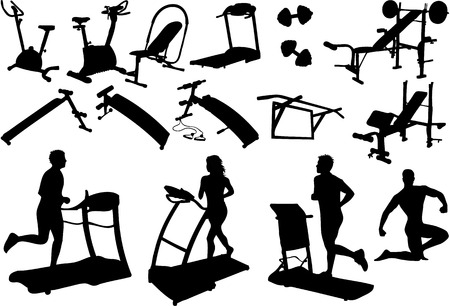 gym: gym equipment, made in the image vectors