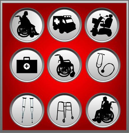 Iconos de médicos  Ilustración de vector
