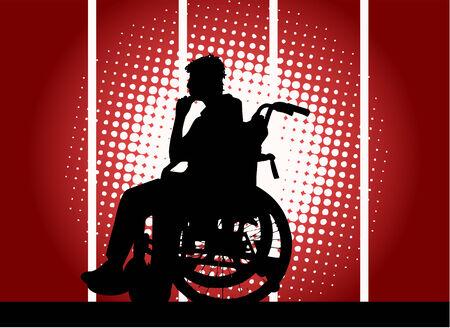 young boy in a wheelchair Vector