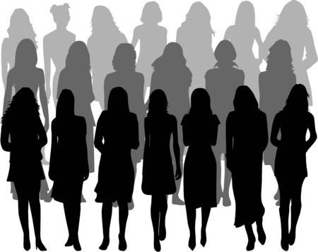 cleavage: Large group of women - silhouette