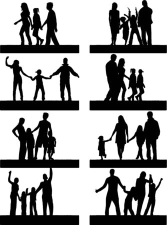 dad daughter: Silhouettes Of Parents With Children