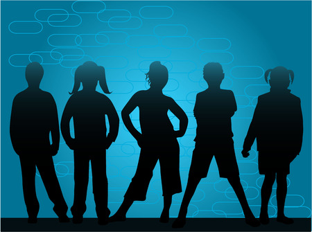 children's silhouettes on a blue background, vector